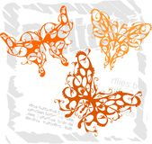 Butterflies in Modern Style - Set 3. Stock Images