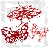 Butterflies in Modern Style - Set 4. Royalty Free Stock Images