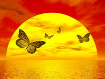 Butterflies monarch going to the sun - 3D render. Four beautiful monarch butterflies flying to the sun upon ocean by red sunset Stock Image