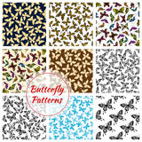 Butterflies and moth seamless patterns set Royalty Free Stock Photography