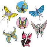 Butterflies and Moths Set Stock Photography