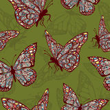 Butterflies with multicolored oriental ornament in style boho, hippie stock illustration