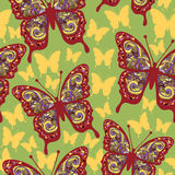 Butterflies with multicolored oriental ornament  Royalty Free Stock Images