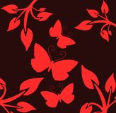 Butterflies on a black background with red leaves Royalty Free Stock Photo