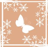 background with butterfly and stylized flowers royalty free stock photo