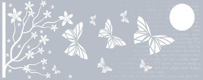 Artistich background with butterflies and tree Stock Images