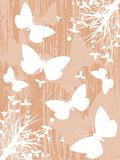 Nice colorful butterflies background with leaves Stock Images