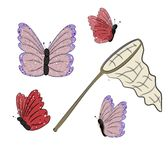 Butterflies and Net over white background Royalty Free Stock Images