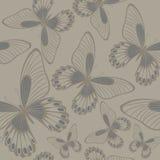Butterflies in Neutrals Backround seamless pattern vector illustration