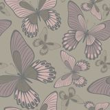 Butterflies in Warm Neutrals Backround seamless pattern royalty free stock photos