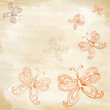 Butterflies on old paper Royalty Free Stock Images