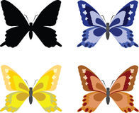 Butterflies with open wings. Set, silhouette and samples of colors, isolated on white background. Vector illustration Stock Photos