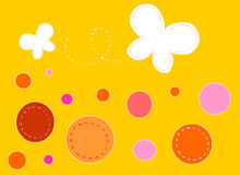 Butterflies on orange background. Butterflies and dots on orange background vector illustration