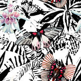 Butterflies and orchid watercolor exotic pattern, graphic backgr Stock Photo