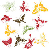 Butterflies ornaments set Stock Image