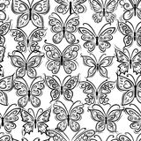 Butterflies ornate, seamless pattern for your Stock Photography