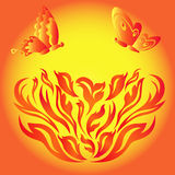 Butterflies over a fiery flower. Butterflies over a flower fiery, hand drawing stylized vector illustration Stock Photography