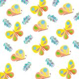 Butterflies pattern drawing insects watercolor summer stock illustration