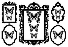Butterflies in picture frames Royalty Free Stock Images
