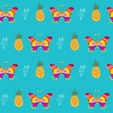 Butterflies pineapples seamless pattern Royalty Free Stock Photo