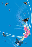 Butterflies and pink flowers on blue Stock Photo