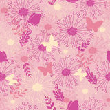 Butterflies in pink garden seamless pattern Stock Photos
