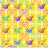 Butterflies on a plaid background vector illustration