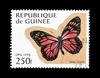 Butterflies on postage stamps. Cancelled postage stamp printed by Guinea, that shows Jamaican Monarch butterfly royalty free stock image