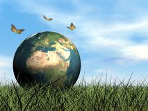 Butterflies protecting earth - 3D render Stock Image