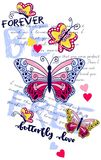 Butterflies quotes flowers. graphic design for t-shirt Royalty Free Stock Photos