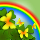 Butterflies and Rainbow. Bright decorative illustration with yellow butterflies, green plants and multicolored rainbow Stock Photo
