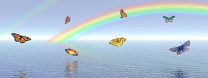 Butterflies and rainbow Stock Images