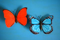 Butterflies red and blue decorative. Red and blue butterflies decorative on a blue background Stock Photography