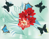 Butterflies and red lily flowers Royalty Free Stock Image