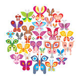 Butterflies. Round vector illustration. Isolated on white background Royalty Free Stock Images