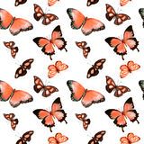 Butterflies. Seamless background. Watercolor Stock Photo