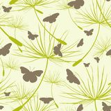 Butterflies seamless pattern. Background with butterflies and dandelion seeds. Vector illustration. Seamless pattern with butterflies and dandelion seeds Stock Photography