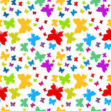 Butterflies seamless pattern background. Butterflies with rainbow colors seamless background Stock Photography