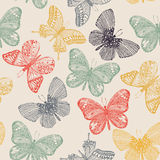 Butterflies seamless pattern in doodle style. Stock Images