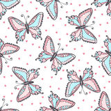 Butterflies seamless pattern in doodle style. Hand drawn butterfly vector illustration for fabric. textile, wrapping, wallpaper, p Stock Photo