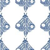 Butterflies. Seamless pattern. Linocut handmade vector illustration. Blue-gray color. Isolated on white.  stock illustration
