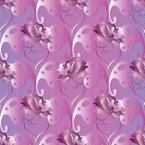 Butterflies seamless pattern. Love heart background. Roses wallp. Aper. Floral vintage ornament with 3d paisley flowers, pink violet 3d roses, abstract Stock Image