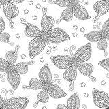 Butterflies seamless pattern, monochrome, coloring book, black and white illustration in boho style, hippie, bohemian Royalty Free Stock Photography