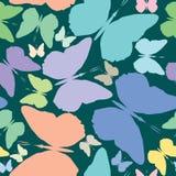 Butterflies seamless pattern over blue Stock Photo