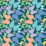 Butterflies seamless pattern over blue extended Royalty Free Stock Photography