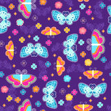 Butterflies Seamless Repeat Pattern. Butterflies and Flowers Seamless Repeat Pattern Vector Illustration Background Royalty Free Stock Image