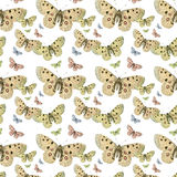 Butterflies seamless repeat pattern background. Pastel colors royalty free stock photo