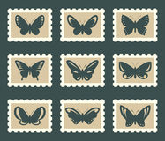 Butterflies set. Butterflies icons on postage stamps Stock Images