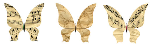 Butterflies set made of the old paper. Isolated on white. The file includes clipping path Royalty Free Stock Photos