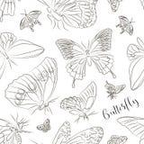 Butterflies set pattern Royalty Free Stock Photo